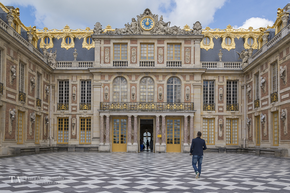 The exterior of Palace of Versailles.