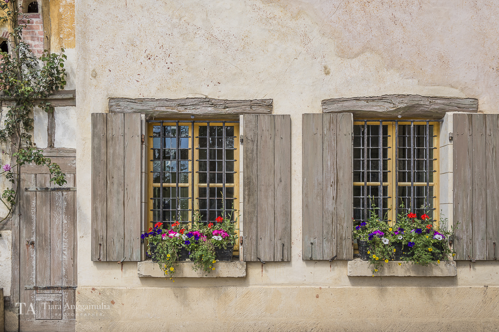 Windows of a house in Marie Antoinette's estate.