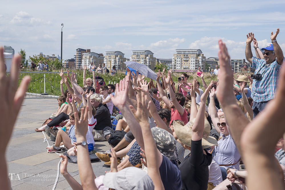 Crowds participating at Greenwich+Docklands International Festival.