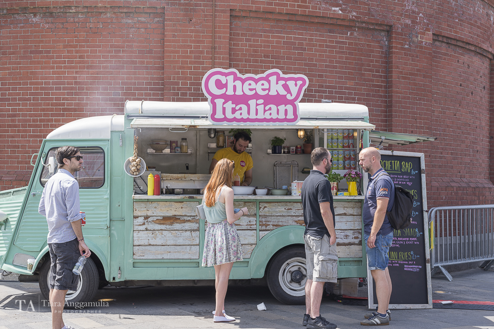 Cheeky Italian street food vendor during Greenwich + Docklands International Festival.
