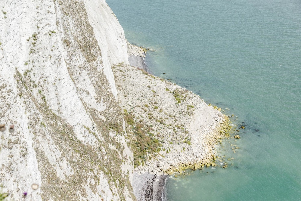 Looking down from the white cliffs of Dover.
