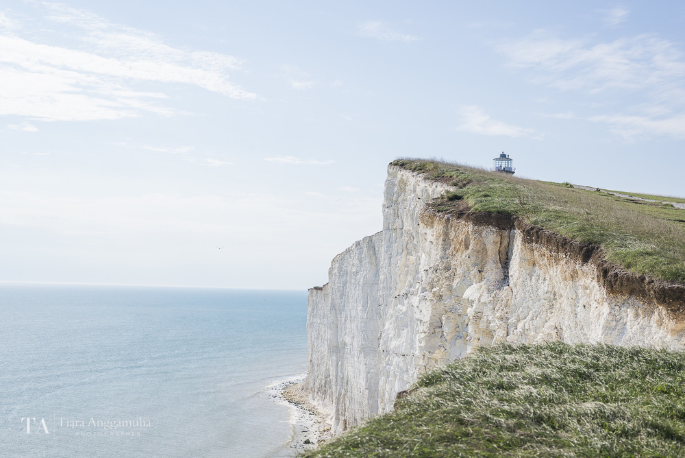 A view towards the white cliffs near Belle Tout Lighthouse.