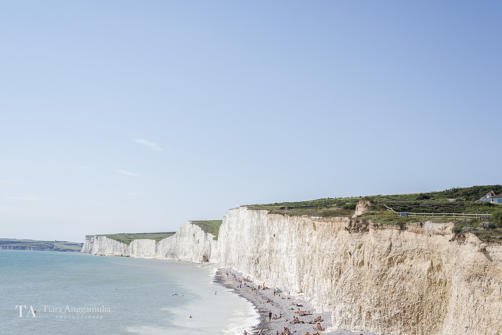 A view towards the white cliffs in Birling Gap.