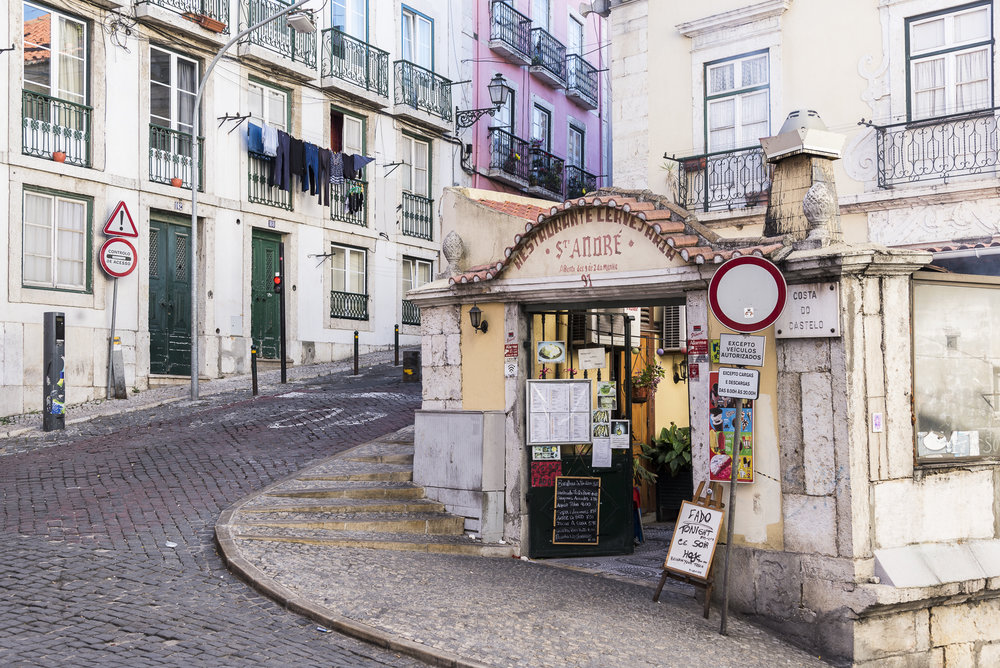 The street view in Lisbon.