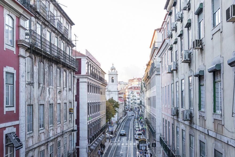 The cityscape of Lisbon.