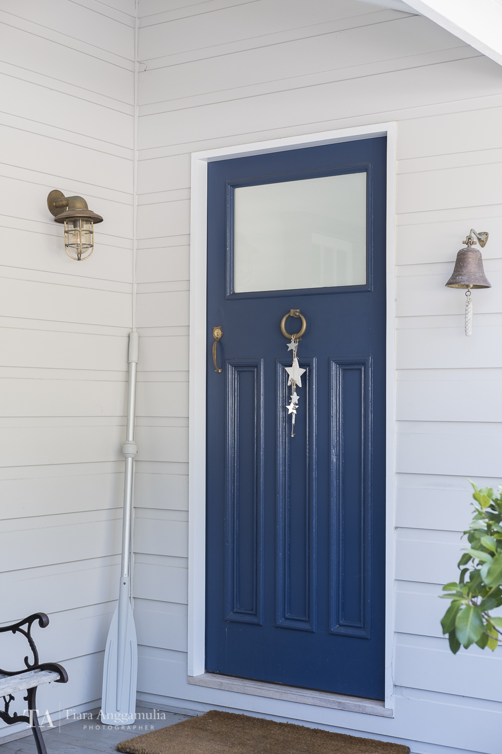 The view of a blue door.