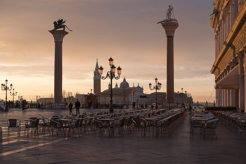 Sunrise in St Mark's Square.