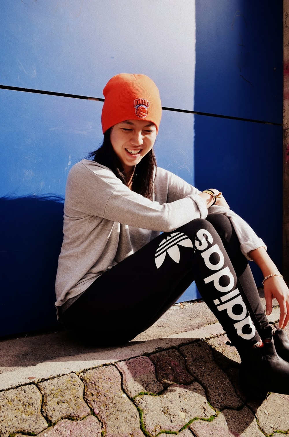 NYC Knicks Beanie, Grey Sweater by H&M, adidas Originals F/W'13 Leggings, Goertz Chelsea Boots.
