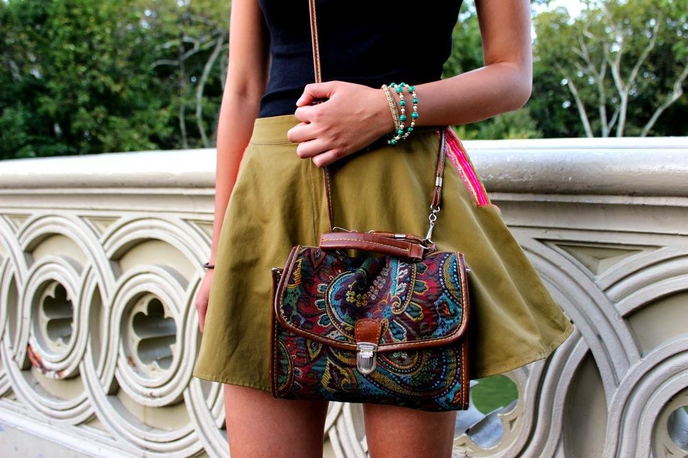 H&M Basic Top // ThuThu Shorts  Fleamarket Handbag & Sandals // Bracelet from an ArtFair