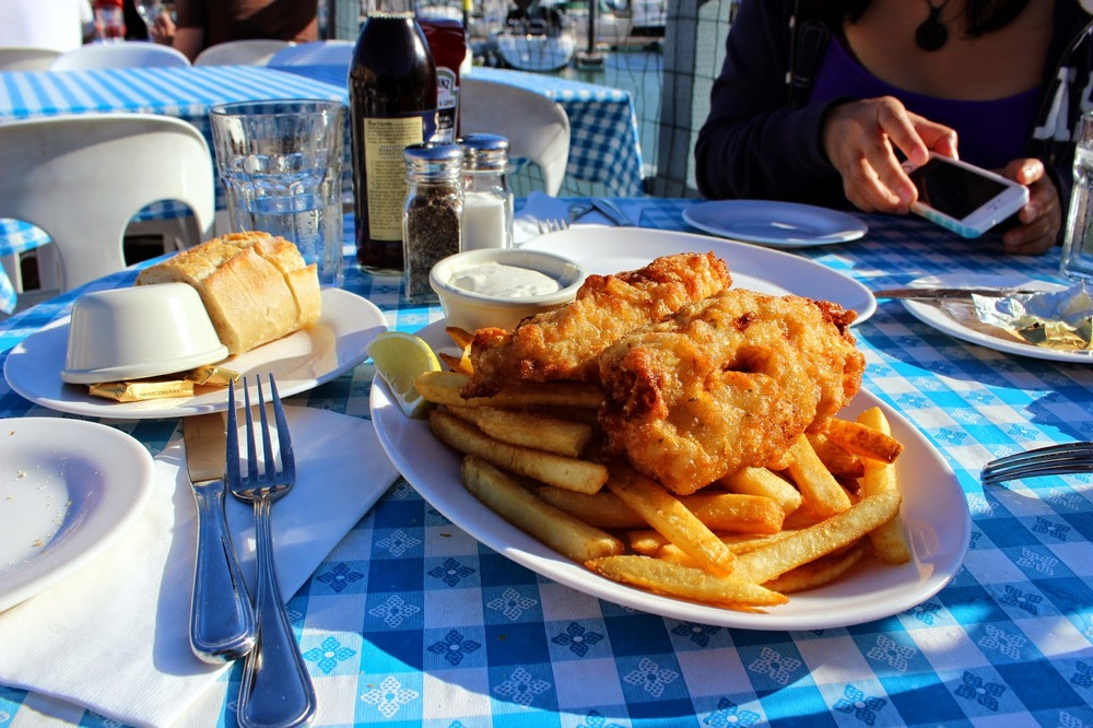 Fish & Chips at Sam's Anchor Café Tiburon, CA