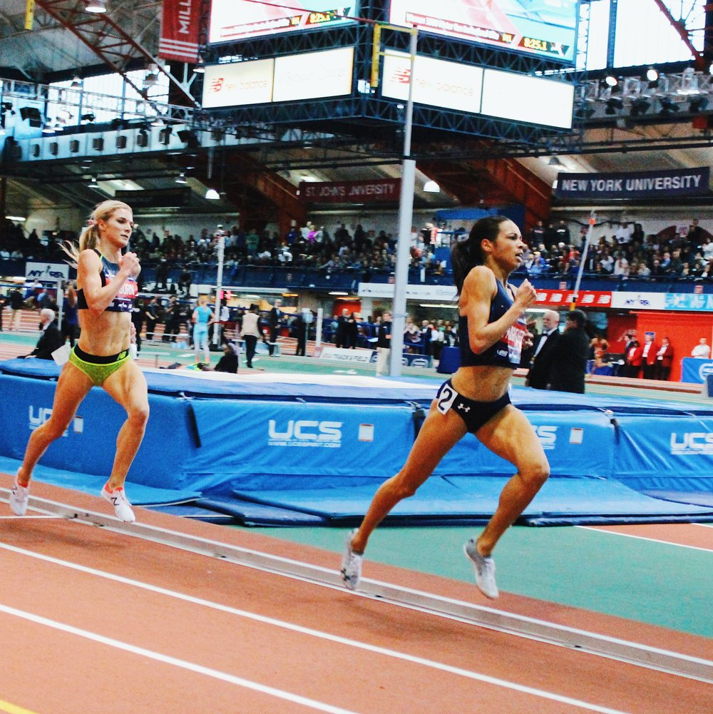Aisha Praught-Leer winning the 3000M race in 8:41:10 and her training partner Emma Coburn taking second place in 8:41:16.