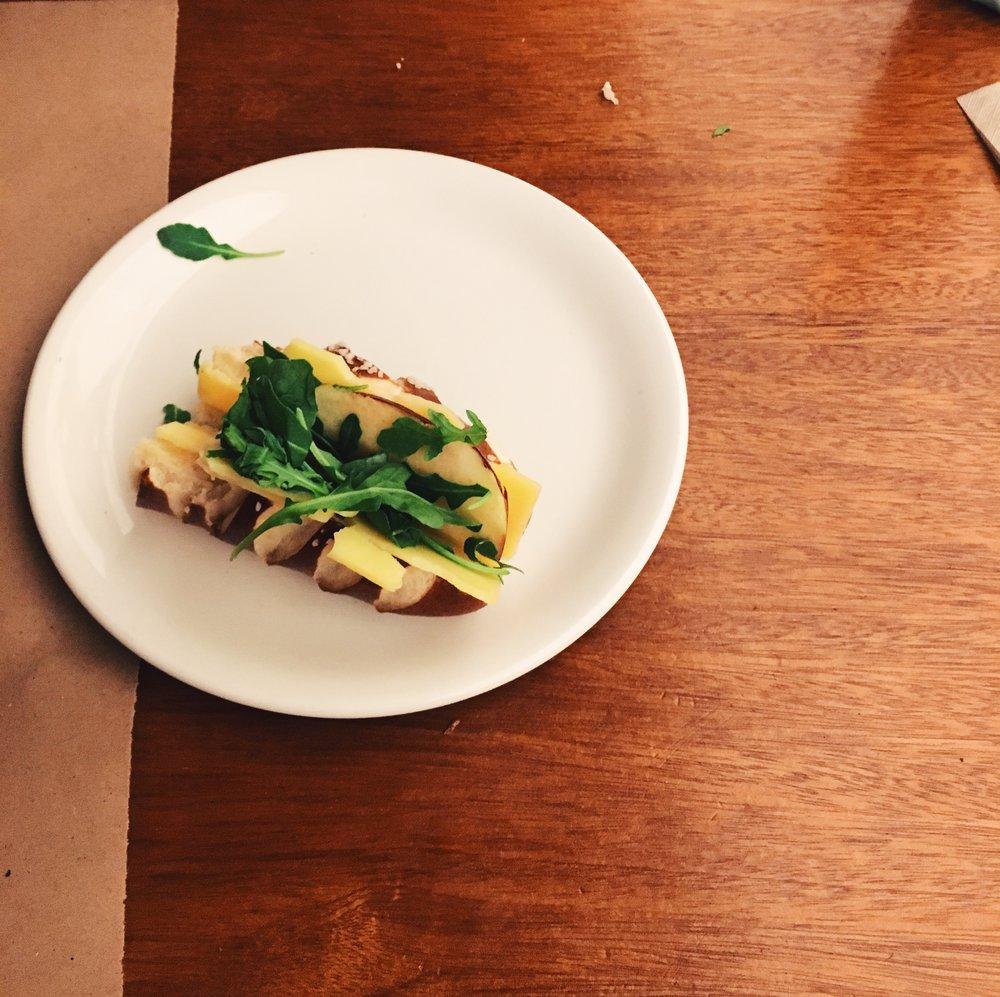 Very delicious cheese arugula apple sandwich  @arcadebakery