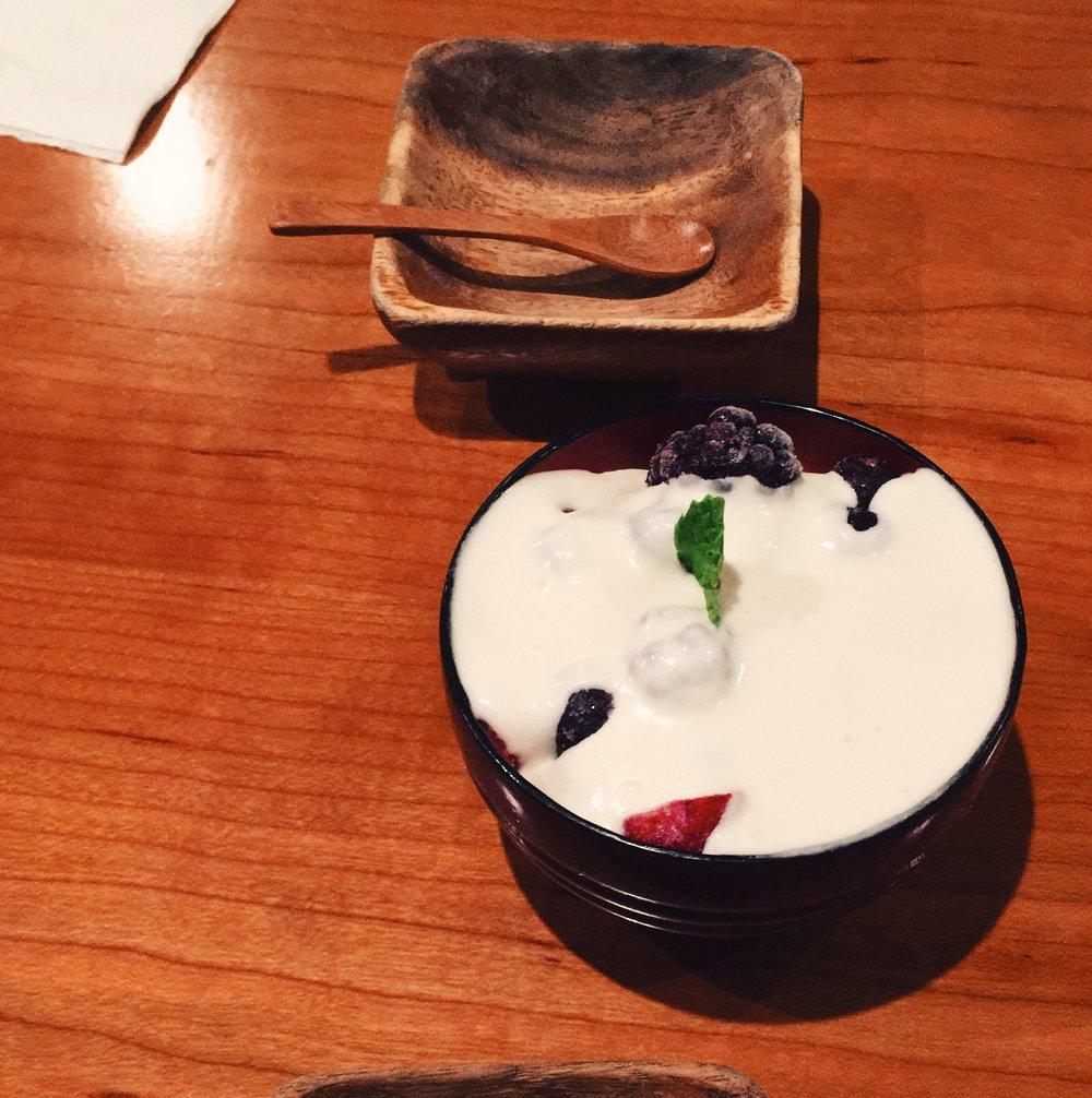 Ramen and coconut cream dessert  @cocoron .