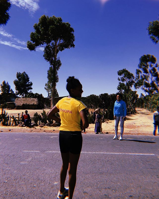 Still processing… and in the meantime, turning the Post-Bekoji-Blues into training inspiration, feeling grateful for some healthy legs and trying to keep up this morning routine on the #roadtoboston — running for the girls and women of Bekoji ✨  Photograph of Coach Fatiya and one of the 6 girls from the Ethiopian Athletics Federation preparing for her 5K leg during the first @girlsgottarun 100Mi Ultra Relay January 10, 2019 1143AM #keephuyenstoked  #girlsgottarun #sisterhood #bekoji100 #bekozy #womanhood #feminism #running #runningculture  #intersectionalfeminism #wocforward #bekoji #ethiopia #womensrunning #womeninsports #latergram #longdistancerunning #distanceracing