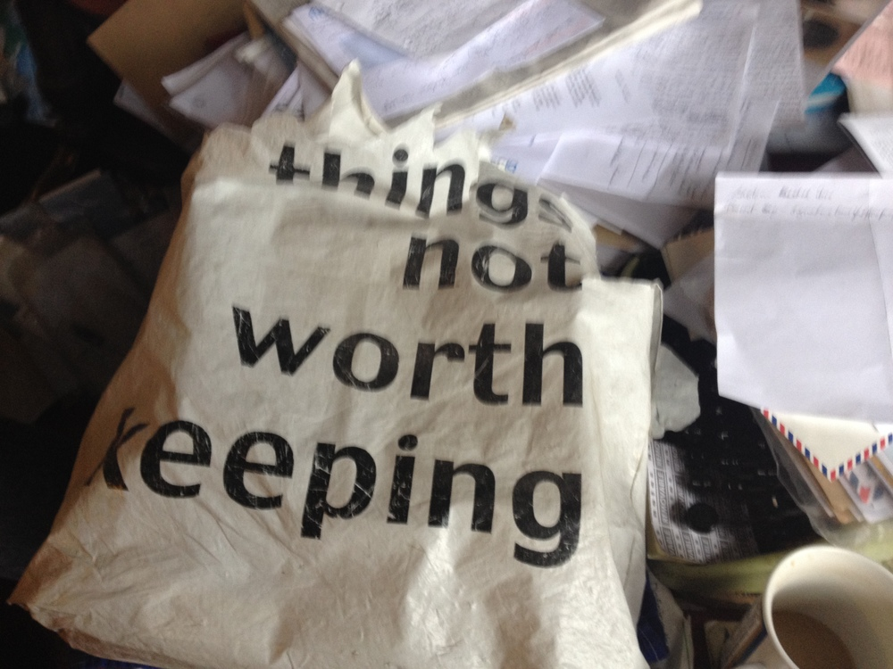 things not worth keeping   A plastic carrier bag from Angela Croomes house.