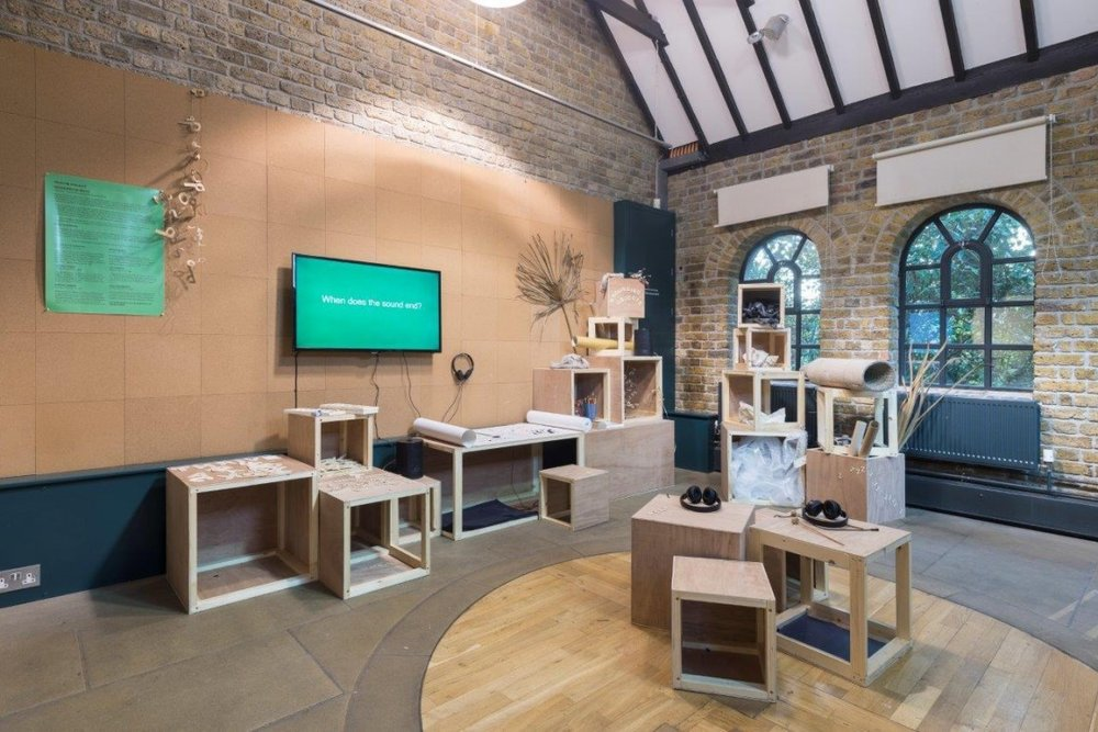 Sounding objects - Pumphouse Gallery InHouse Project with Rebecca Glover - an interactive sound sculpture/installation which can be played/performed, and weekend sound workshops - part of the education programme.https://pumphousegallery.org.uk/programme/a-hook-but-no-fish/sounding-objects