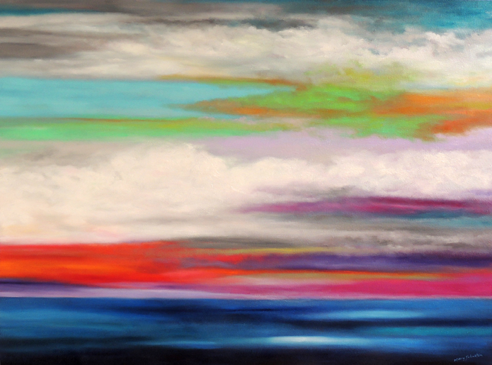 "'Colors Over Water' 30"" x 40"" oil on canvas 9/25/16"