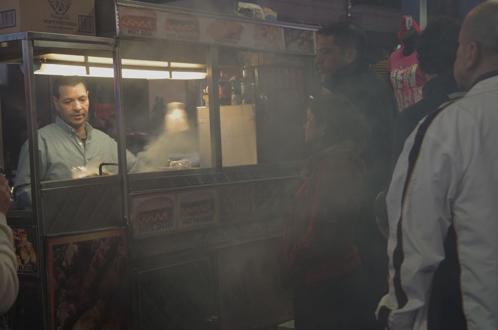Midnight on times Square, Series 3, 2 of 10 (Customers at a Smoking Food Cart)