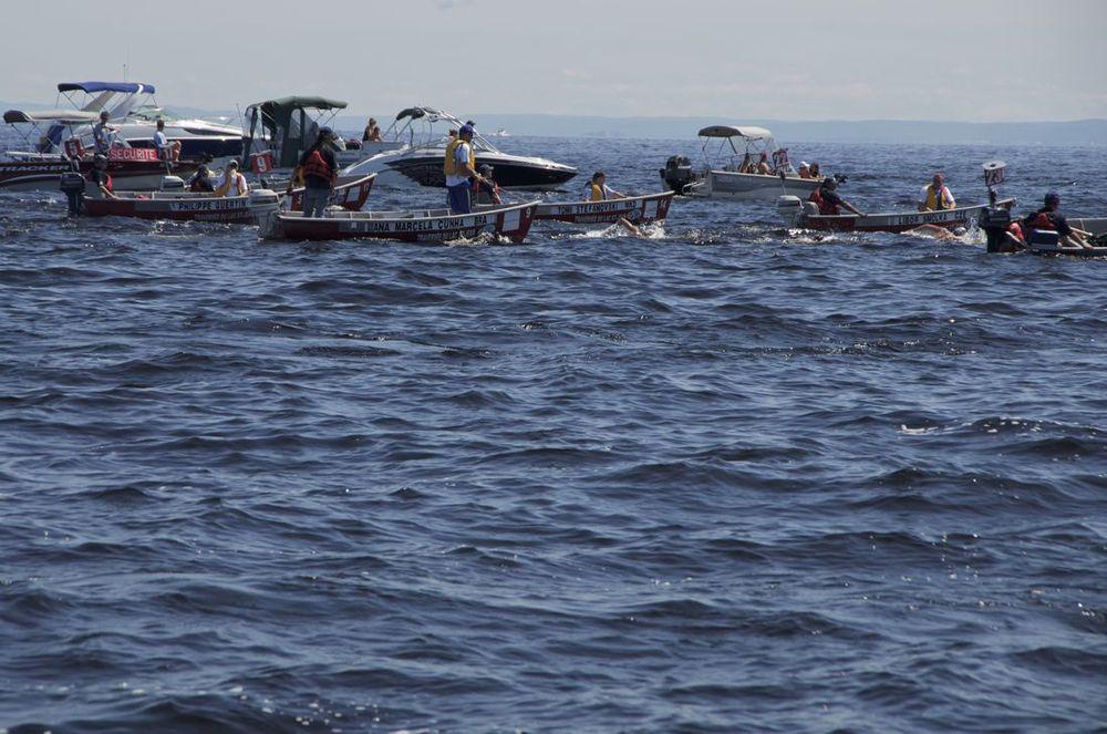 Lac St-Jean (le peloton de cinq nageurs - 2012 : Damian Blaum, Libor Smolka, Tomi Stefanovski, Ana Marcella Cunha, Phillipe Guertin)
