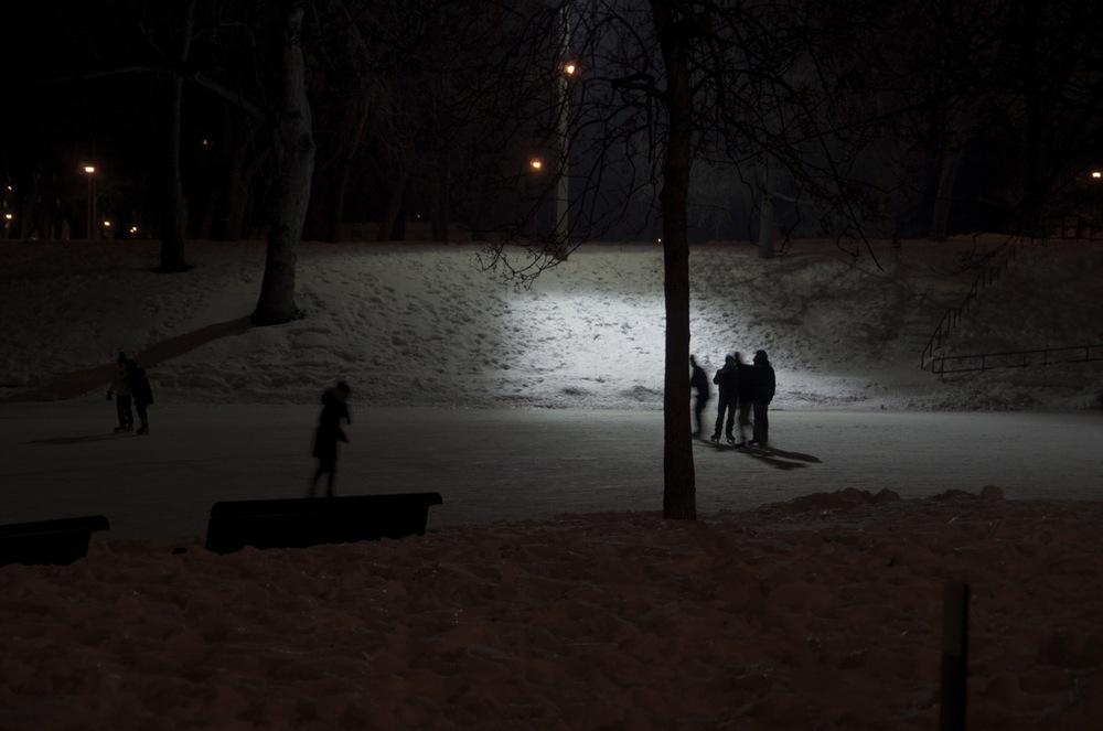Patineurs nocturnes, parc Lafontaine 1/2