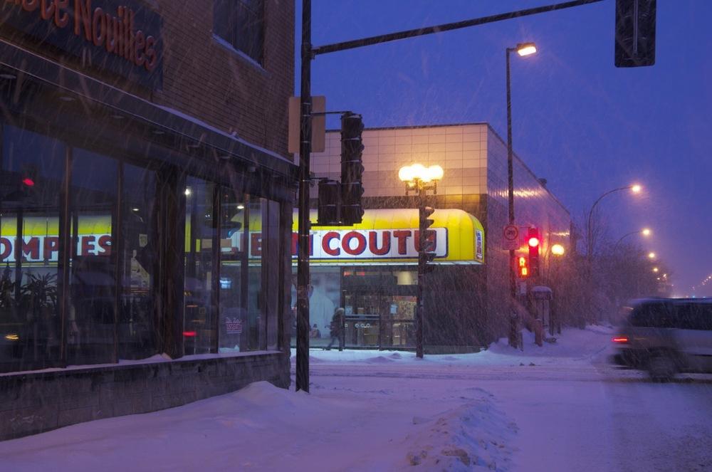 Matin sous la neige, Boul St-Michel et rue Masson
