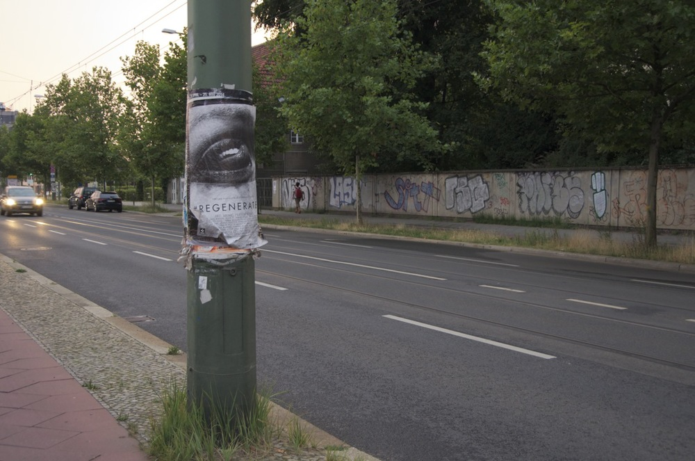 Laternenpfahl mit plakat, Bernauerstraße     (e) B E R L I N E R  S I T Z U N G  (f)