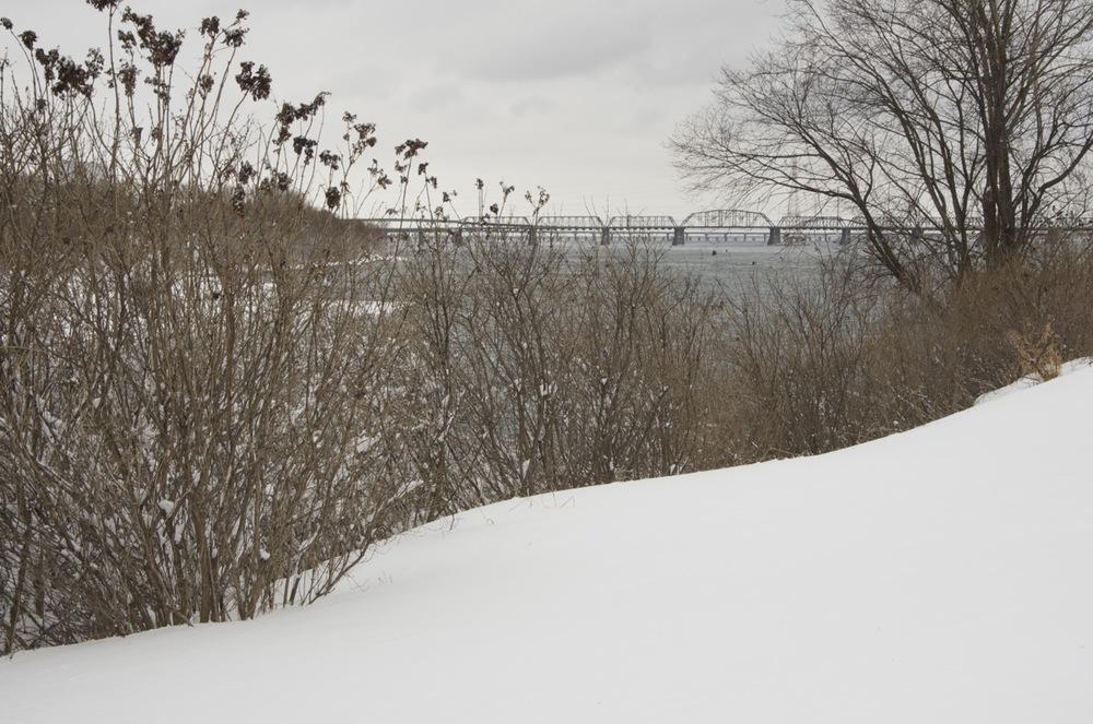Les ponts Victoria et Champlain depuis l'île Ste-Hélène