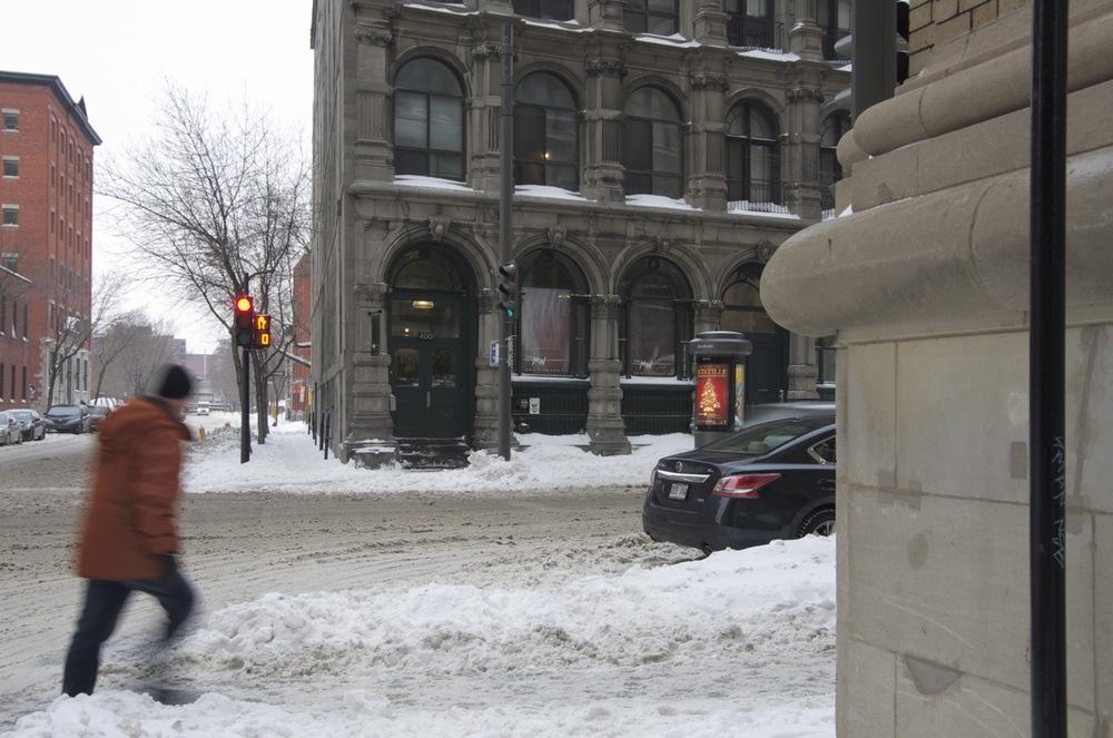 Hiver, rue St-Paul, à la rue McGill