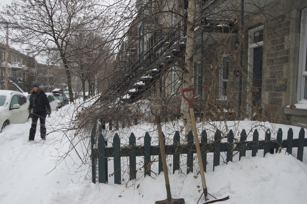 Deux pelles à neige, rue Clark