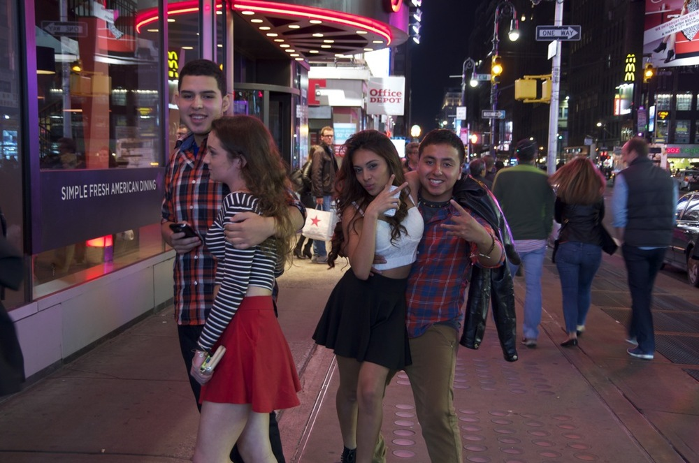Two Young Couples, Times Square