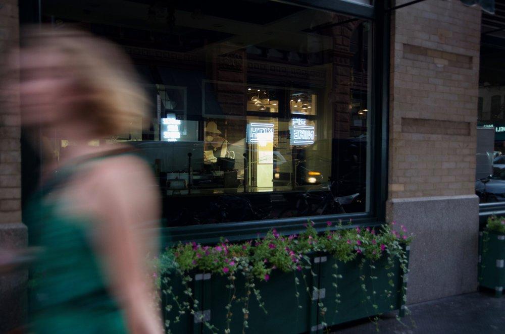 Passing a Shop Window, Bleeker Street, Manhattan - NYC