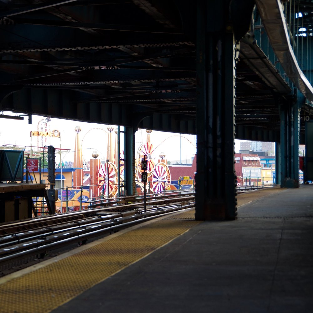 Sight of the Luna Park Attractions from the W 8th Street Station Platform, Coney Island, Brooklyn
