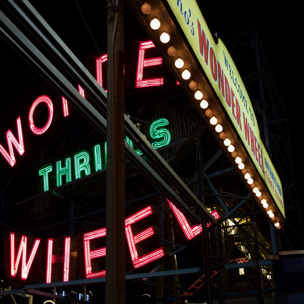 Signage for the Wonder Wheel, Coney Island, Brooklyn
