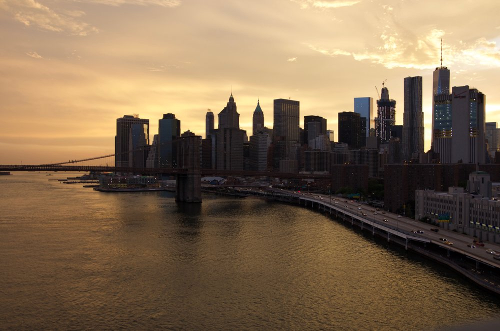 Manhattan in the Sunset, from the Manhattan Bridge - NYC