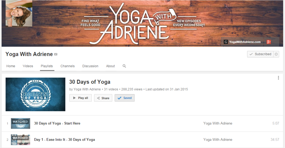 30 day fitness challenge; yoga with Adriene