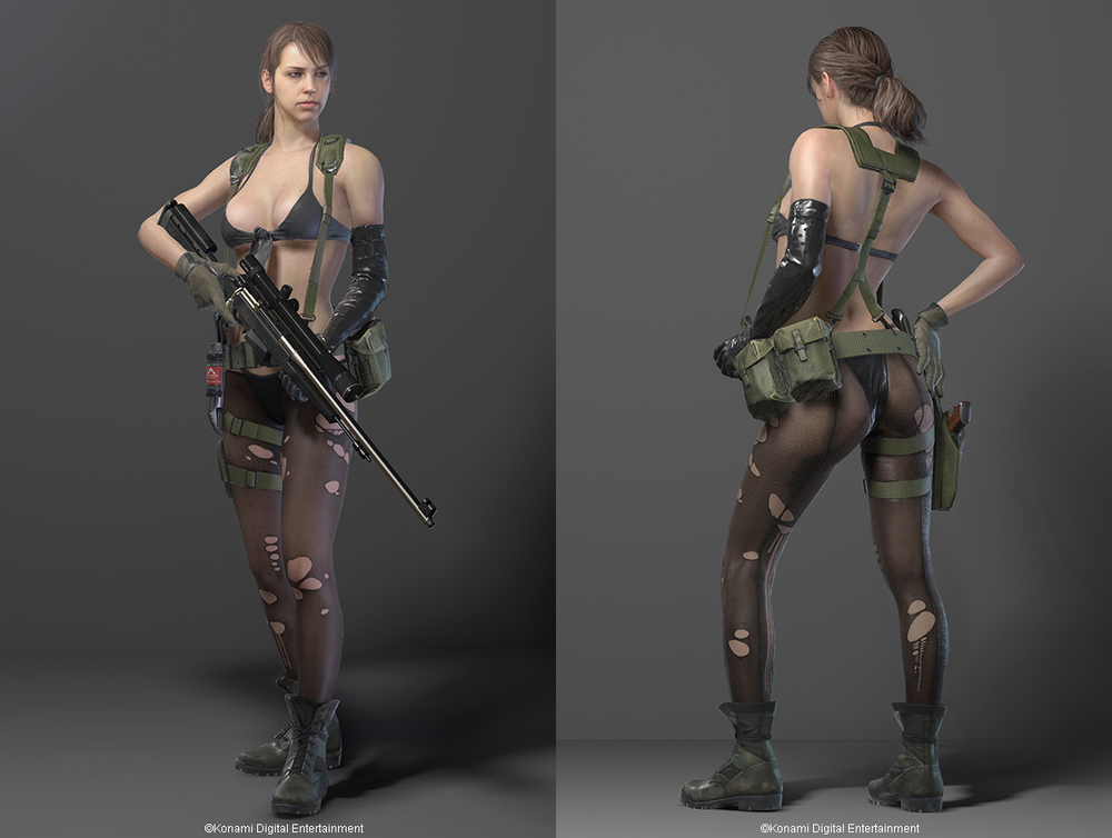 "MGS V Spoiler:  The sniper, Quiet. Oh no, it's cool! She breathes through her skin, right? So her outfit makes sense. - Mate, you'd have been better off just saying ""we have a sexy sniper in the game because we know some of our players will find her hot as hell""."