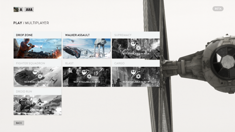 Screenshot from the Beta multiplayer menu