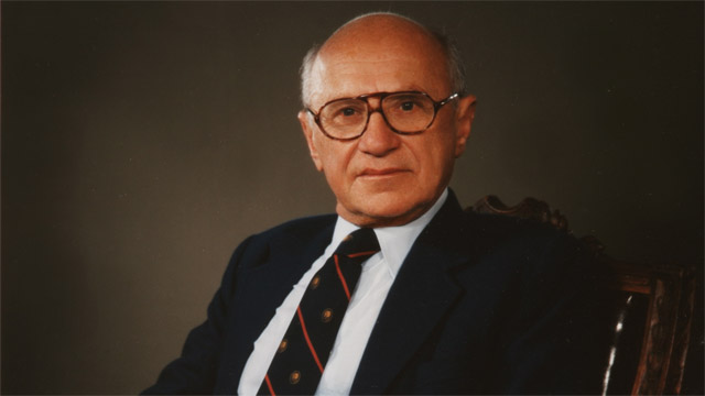 Milton Friedman. Winner of the 1976 Nobel Prize for Economics.