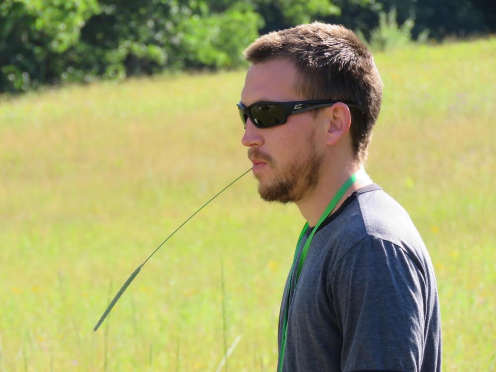 Reid walks the pasture