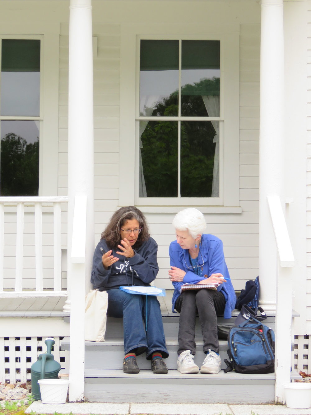 Midge Goldberg Meets with a Student on Frost's Porch