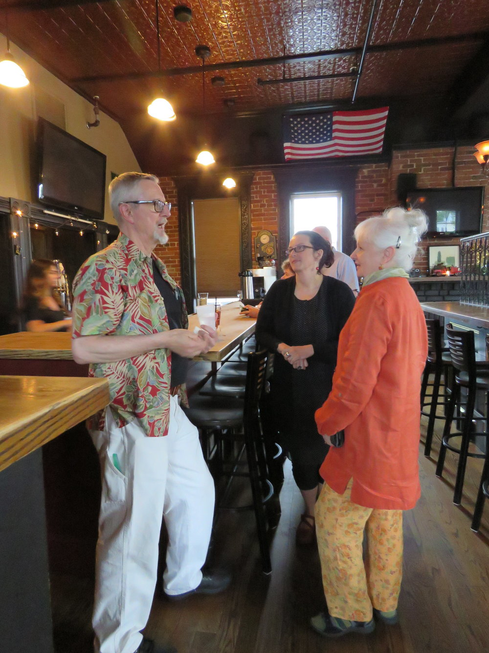 Don Kimball, President of the Poetry Society of NH, Wears the Perfect Shirt to Happy Hour