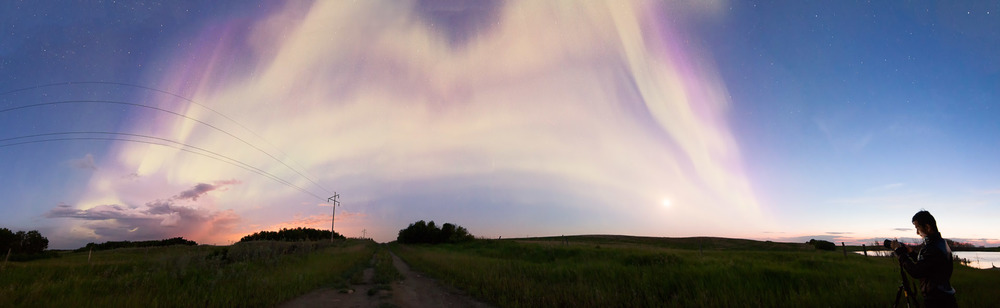 14 shot panoramic featuring aurora, clouds, the moon, and Herry.            11mm | f/2.8 | 5s | ISO2000