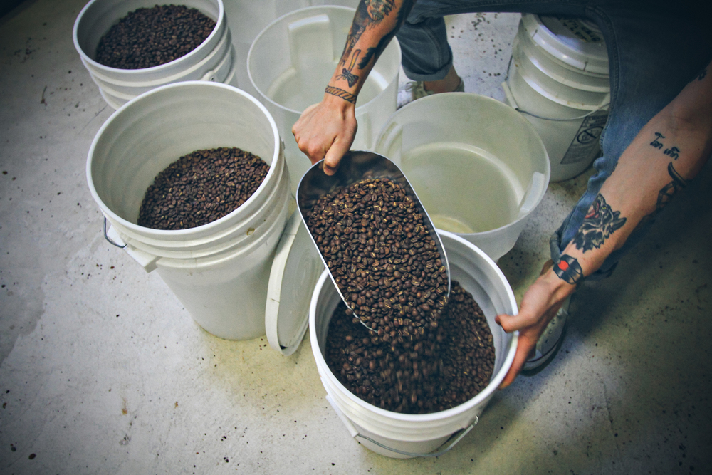 Peter hand blends a three-way espresso for the freshest shipment.
