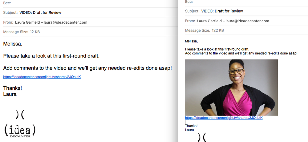 """Which email is more eye-catching? Hint:If you guessed """"the one on the right"""" you're right!"""