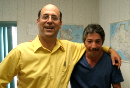 Dr. Andrew Berkowitz (left) and patient Moses Padilla (right)