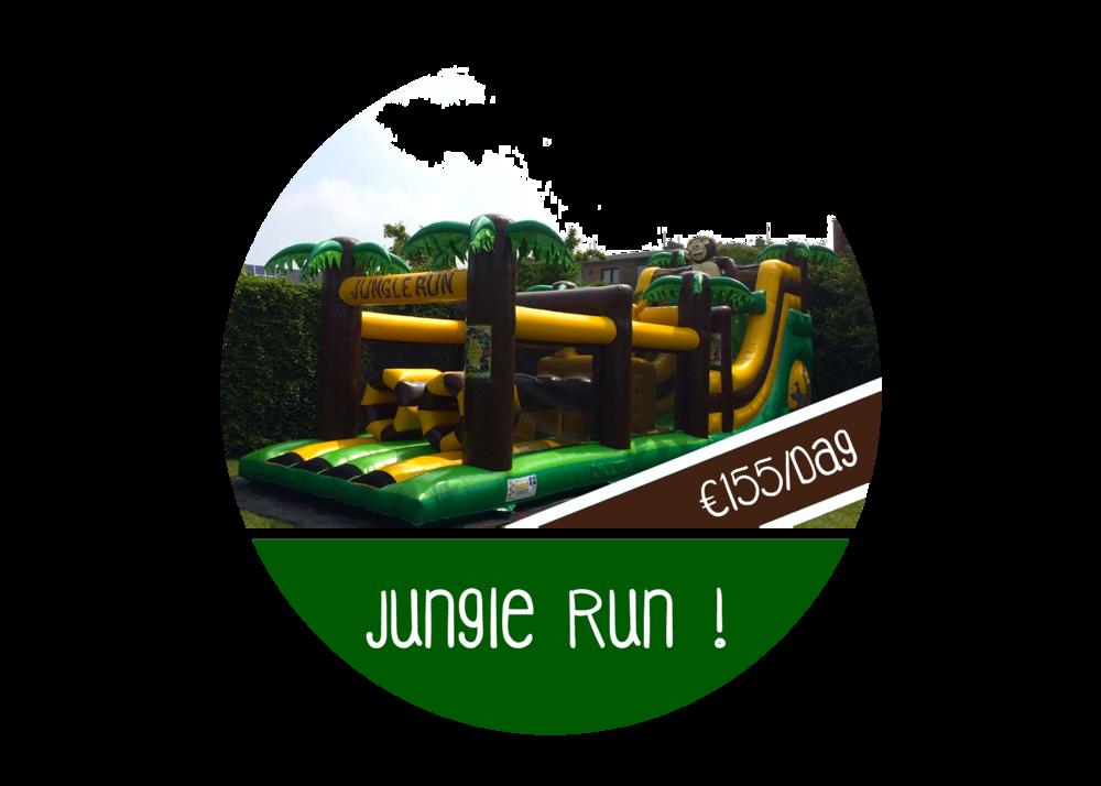 stormbaan lang springkasteel huren hindernissenbaan jungle