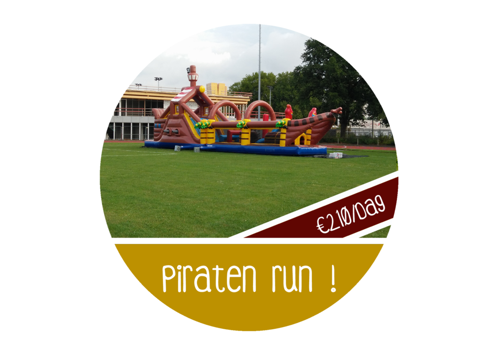 Stormbaan springkasteel piraten huren thema run