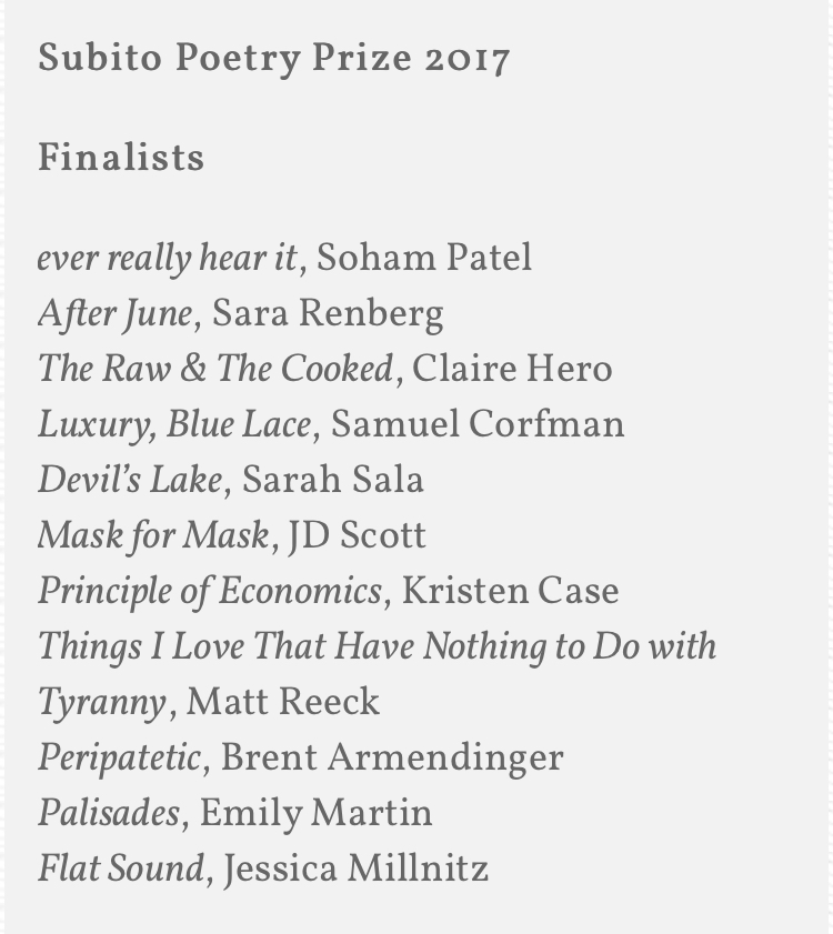 Devil's Lake is Named a Finalist for the Subito Poetry Prize 2017