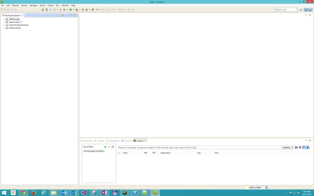 An empty workspace in Eclipse