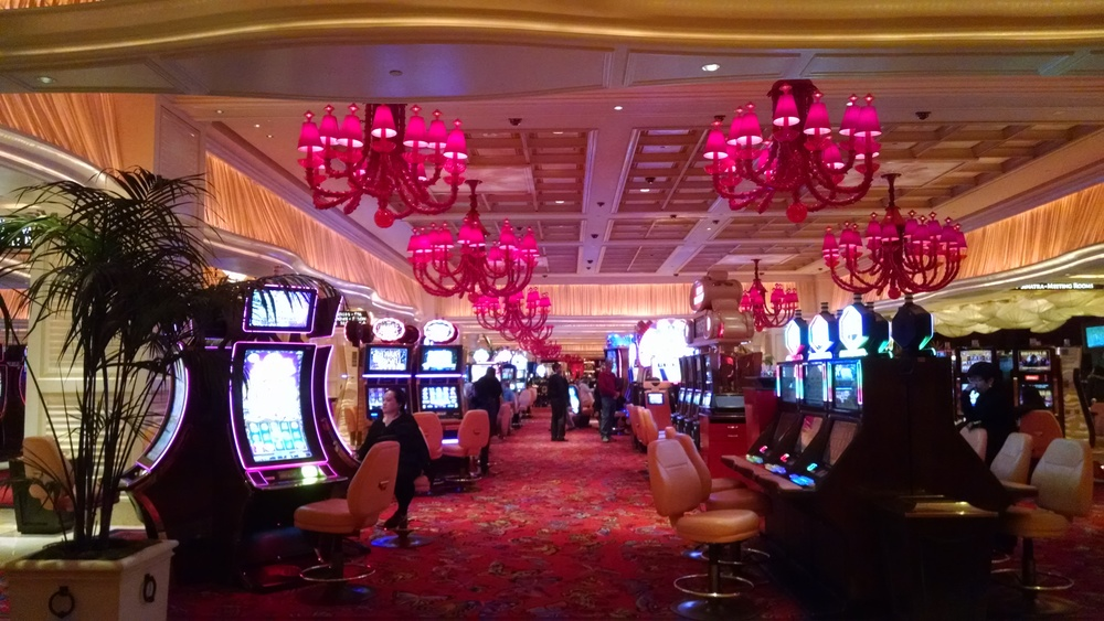 This is the gambling floor at the Encore. See those chandeliers? They took two years to create in Murano, Italy, an island near Venice that's famous for its handblown glass. There are 130 of these chandeliers in total at the Encore resort.